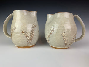 Pottery Pitcher,  Speckled White Glaze