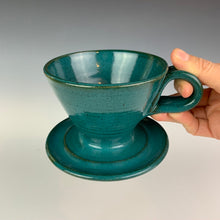 Load image into Gallery viewer, Coffee pour over with finger loop handle, wheel-thrown pottery, Teal glaze on red clay