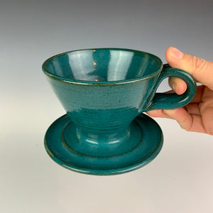 Coffee pour over with finger loop handle, wheel-thrown pottery, Teal glaze on red clay