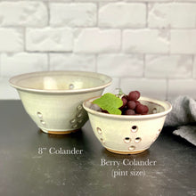 "Load image into Gallery viewer, an 8""diameter colander and a pint sized Berry colander in speckled white glaze"