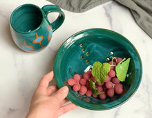 "Load image into Gallery viewer, 8"" colander in teal, shown with matching teal MidMod Mug."