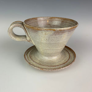 Coffee pour over, wheel-thrown pottery, in white speckled glaze