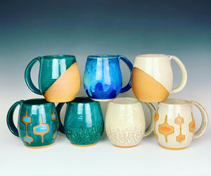 Other mugs available from Fern Street Pottery in the northwest shape. shown here in angle dipped glaze pattern, carved texture mugs, and MidMod patterns.