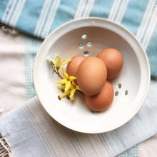 Load image into Gallery viewer, Berry colander in pure white, shown with french linens and fresh eggs