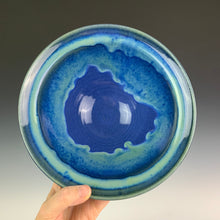 Load image into Gallery viewer, Blue World bowl, swirls of turquoise green over a cobalt blue bowl with a lovely rim.