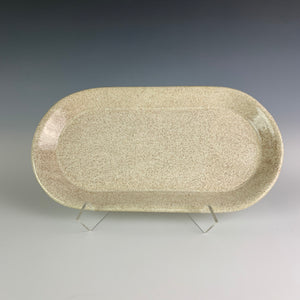 oval tray in Speckled White gossy glaze. hand made pottery