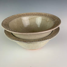 "Load image into Gallery viewer, stacked red pottery stoneware bowls in white speckled glaze with  carved rim serving bowl. the pots are thrown on the potters wheel, bowls are approximately 7"" in diameter"