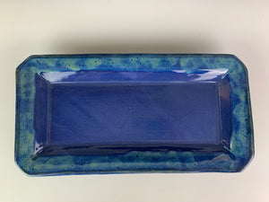 Cobalt blue rectangular tray, with turquoise green mottled glaze on edges., handmade from stoneware clay