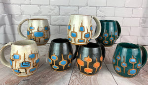 MidMod  carved Mugs Freshly made with vintage inspired design and color. teal, white, turquoise, round square pattern