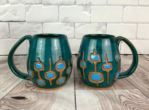 MidMod carved Mugs Freshly made with vintage inspired design and color. teal, turquoise, round square pattern