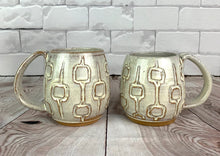 Load image into Gallery viewer, MidMod Mugs Freshly made with vintage inspired design. speckled white,  round square pattern