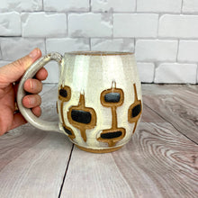 Load image into Gallery viewer, MidMod Mugs Freshly made with vintage inspired design and color. teal, white, black glitter, round square pattern