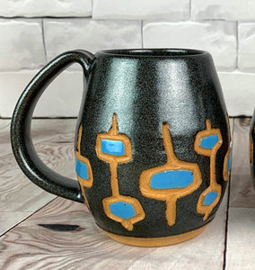 MidMod carved Mugs Freshly made with vintage inspired design and color. black glittery glaze with  turquoise, round square pattern