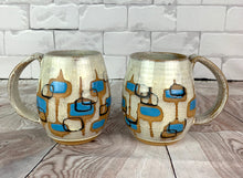 Load image into Gallery viewer, MidMod carved Mugs Freshly made with vintage inspired design and color. white glaze with turquoise, round square pattern
