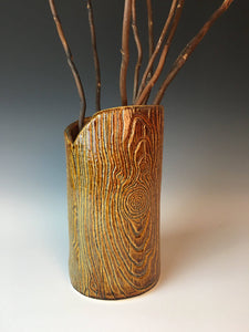 woodgrain faux wood pottery vase