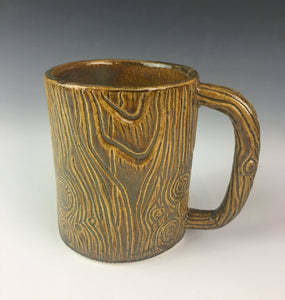 morningwood mug, beer stein that looks like wood texture on a pottery mug