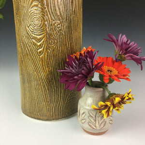 lumberjack, woodgrain vase detail, shown with mini bud vase
