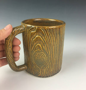 morningwood mug, lumberjack mug, fauxbois wood grain carved into a pottery mug, appears as wood mug