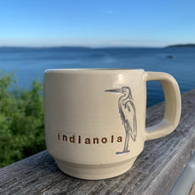 Load image into Gallery viewer, indianola mug, wheelthrown with great blue heron image inset.