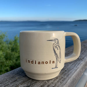 indianola mug, wheelthrown with great blue heron image inset.
