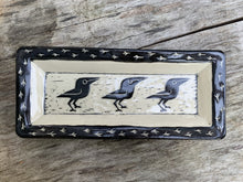 Load image into Gallery viewer, Crow plate, white with black sgraffito carved crow