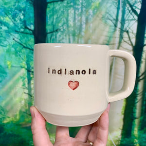 "custom made text mug ""mom"" with heart in a speech bubble"