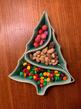 Load image into Gallery viewer, christmas decor, vintage style ceramic candy dish with candy on a teak table