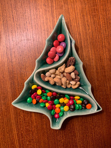 christmas decor, vintage style ceramic candy dish with candy on a teak table