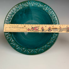 "Load image into Gallery viewer, carved rim bowl in teal, showing the dimensions, marked by a ruler. This one is just under 8"" diameter at the outside edge"