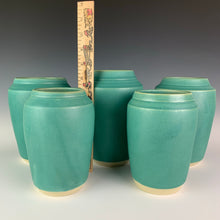 Load image into Gallery viewer, turquoise green vases shown with ruler for height refrence