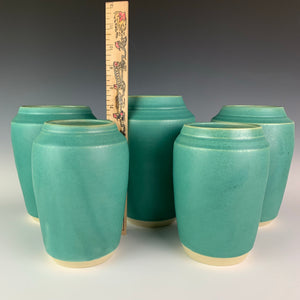 turquoise green vases shown with ruler for height refrence