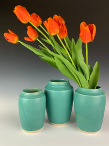 Set of 3 turquoise green vases with a satin/matte finish glaze