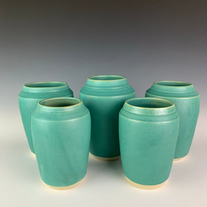 Five vases in turquoise green satin/matte glaze