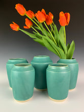 Load image into Gallery viewer, classic shaped vase, shown in group of 5 displayed with tulips