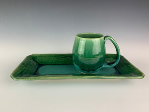 serving tray in emerald city green shown with northwest mug