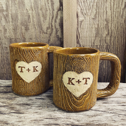 Woodgrain, MorningWood Mug with customizable text (made to order)