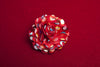 Red Dotted Satin Lapel Rose