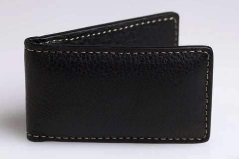 Tumbled Calf Leather Money Clip (Black)