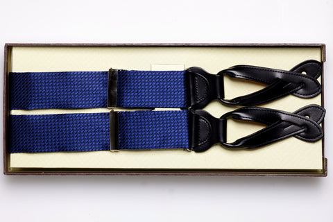"""Weybridge"" Houndstooth Silk Suspender (Navy)"