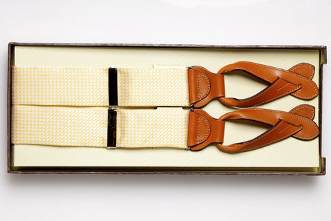 """Weybridge"" Silk Houndstooth Suspender (Yellow)"