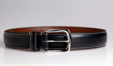 Black Tumbled Leather Belt (Black)