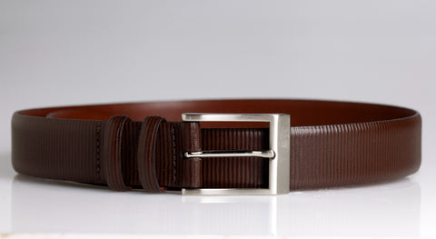 Geometric Leather Belt (Brown)