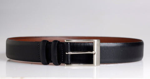 Black Geometric Leather Belt (Black)