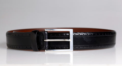 Black Perforated Leather Belt (Black)