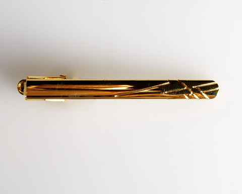 Gold Etched Lines Tie Clip