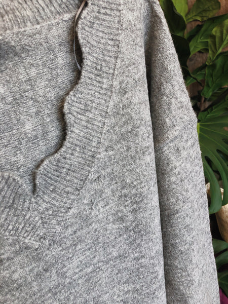Gray Scallop Sweater