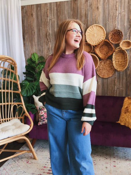 Green + Mauve Stripe Sweater