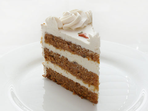 Slice of Carrot Cake with Walnuts