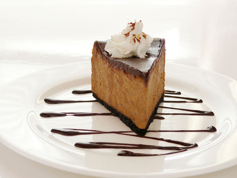 Slice of Pumpkin Chocolate Cheesecake (GF)