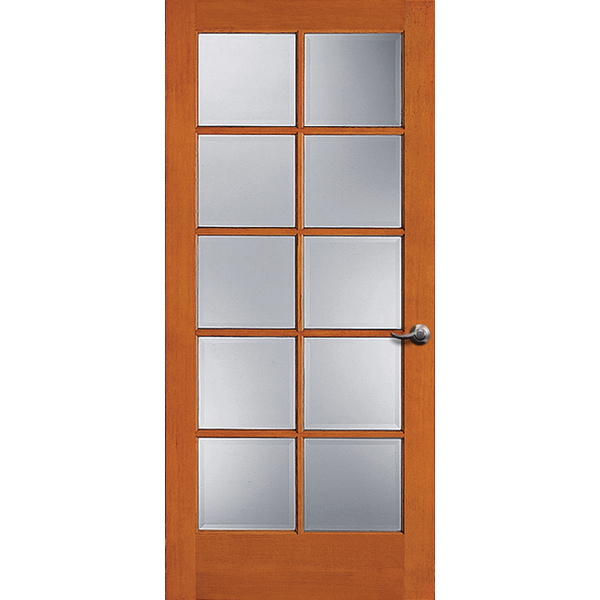 10-Lite Doug Fir Wood & Single Pane Clear Glass French Patio Door